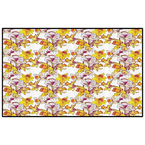 Daffodil Decor Outdoor Rugs for patios Outdoor Area Rug Complex Colorful Detailed Mixed Narcissus Flower Six Petals Love and Balance Calm Painting for Kids Baby Room Bedroom Nursery Multi