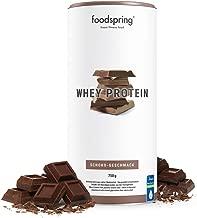 foodspring - Proteína Whey - Sabor Chocolate - Nutre tu ambición - 80% de proteína de suero de leche - Proteína para el desarrollo muscular - 750g