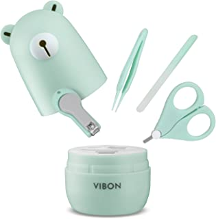 VIBON Light Green Bear Shape Baby Manicure Kit, Safe Baby Bear Nail Clipper, Scissors, Tweezers and Nail File(4 Pcs), Baby Nail Care Set for Newborn, Infant, Toddler, Kids