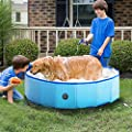 "RELIANCER Foldable Dog Swimming Pool 40"" Folding Pet Bath Pool Collapsible Cat Bathtub Portable PVC Kiddie Pool Spa Bathing Wash Tub Water Pond Pool Toddler Baby Bath Kids Play Pool Whelping Box"