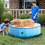 RELIANCER Foldable Dog Swimming Pool 47' Folding Pet Bath Pool Collapsible Cat Bathtub Portable PVC Kiddie Pool Spa Bathing Wash Tub Water Pond Pool Toddler Baby Bath Kids Play Pool Whelping Box