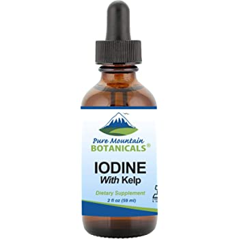 Liquid Iodine Supplement with Organic Kelp - Kosher Vegan Potassium Iodide Drops - Support Thyroid Health - 2 fl oz Solution