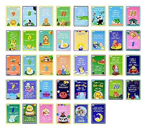 Version en Langue Anglaise Mes Premiers Moments Parfaits Cartes Landmark pour Bébés et filles 38 mignonnes illustrées Mignonnes Bébé Ensemble