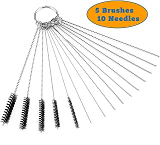 Valchoose Premium Jet Cleaning Brushes, The Bent with Strong Pressure Carb Carburetor Cleaners Made of Heavy Duty Density Nylon and Stainless Steel | 5 Nylon Brushes + 10 Cleaning Needles