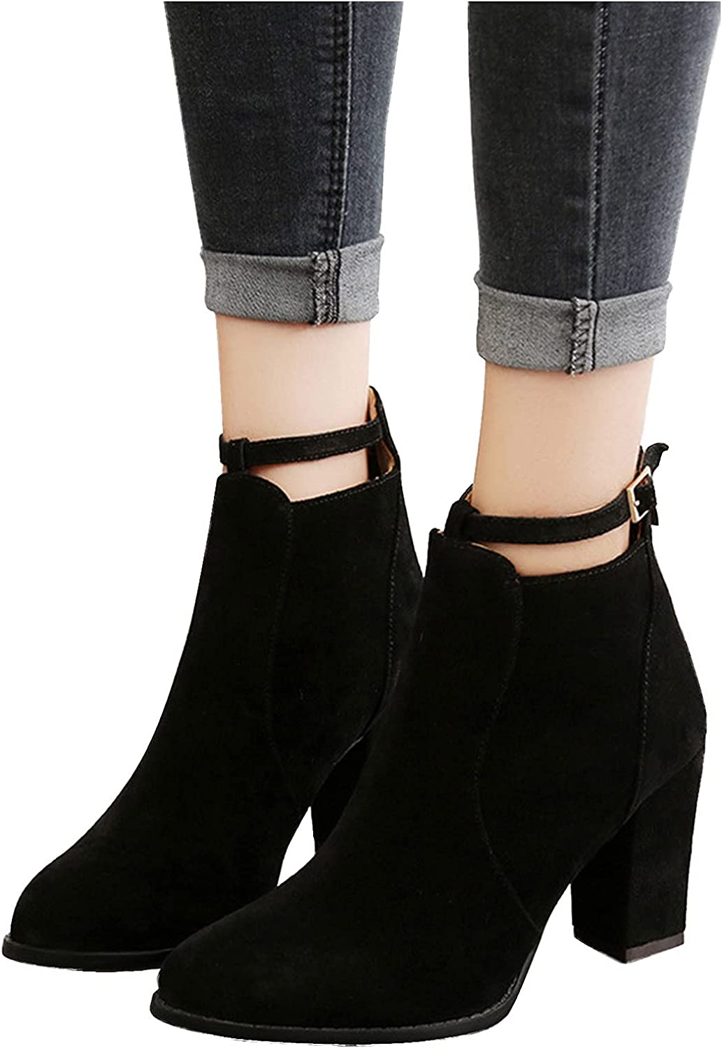 Gibobby Ankle Boots for Women,Womens Ankle Short Boots Pointed Toe Buckle Zipper Up Boots High Heel Cowgirl Boots Causal Shoes