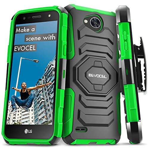 Evocel New Generation Series Phone Case Compatible with LG X Charge, LG Fiesta, LG X Power 2, LG V7 with Belt Clip Holster and Kickstand, Green