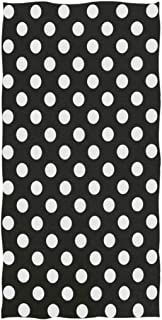 Naanle Cute Polka Dot Pattern Soft Absorbent Guest Hand Towels for Bathroom, Hotel, Gym and Spa (16 x 30 Inches,Black White)