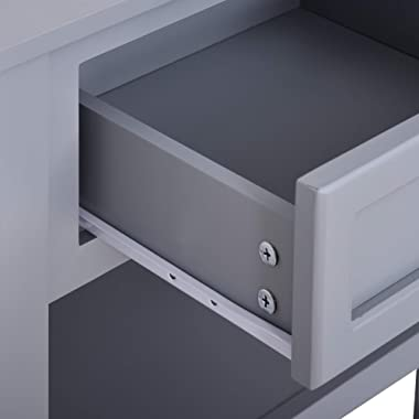 HOMCOM Accent End Table Nightstand with Grey Tabletop, Storage Drawer, and Bottom Shelf, Grey