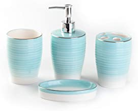 Bloom Flower 4-Piece Stoneware Bathroom Accessory Set- Toothbrush Holder, Tumbler, Soap Dish & Dispenser
