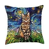 Sagittarius Gallery Brown Tabby Cat Starry Night Impressionist Animal Art by Aja Throw Pillow, 18x18, Multicolor