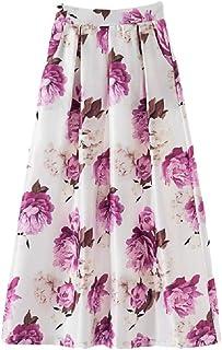 MogogoWomen Casual Swing Vintage Maxi Floral Printed Beach Long Skirt
