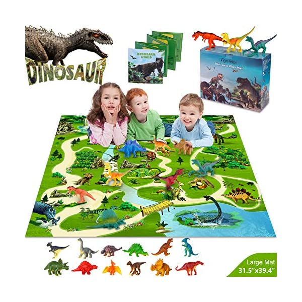 TEPSMIGO Dinosaur Toys, Play Mat with 24 Realistic Looking Dinosaurs Including T-Rex, Triceratops, Velociraptor, Great for Kids 3 Year Olds and Up