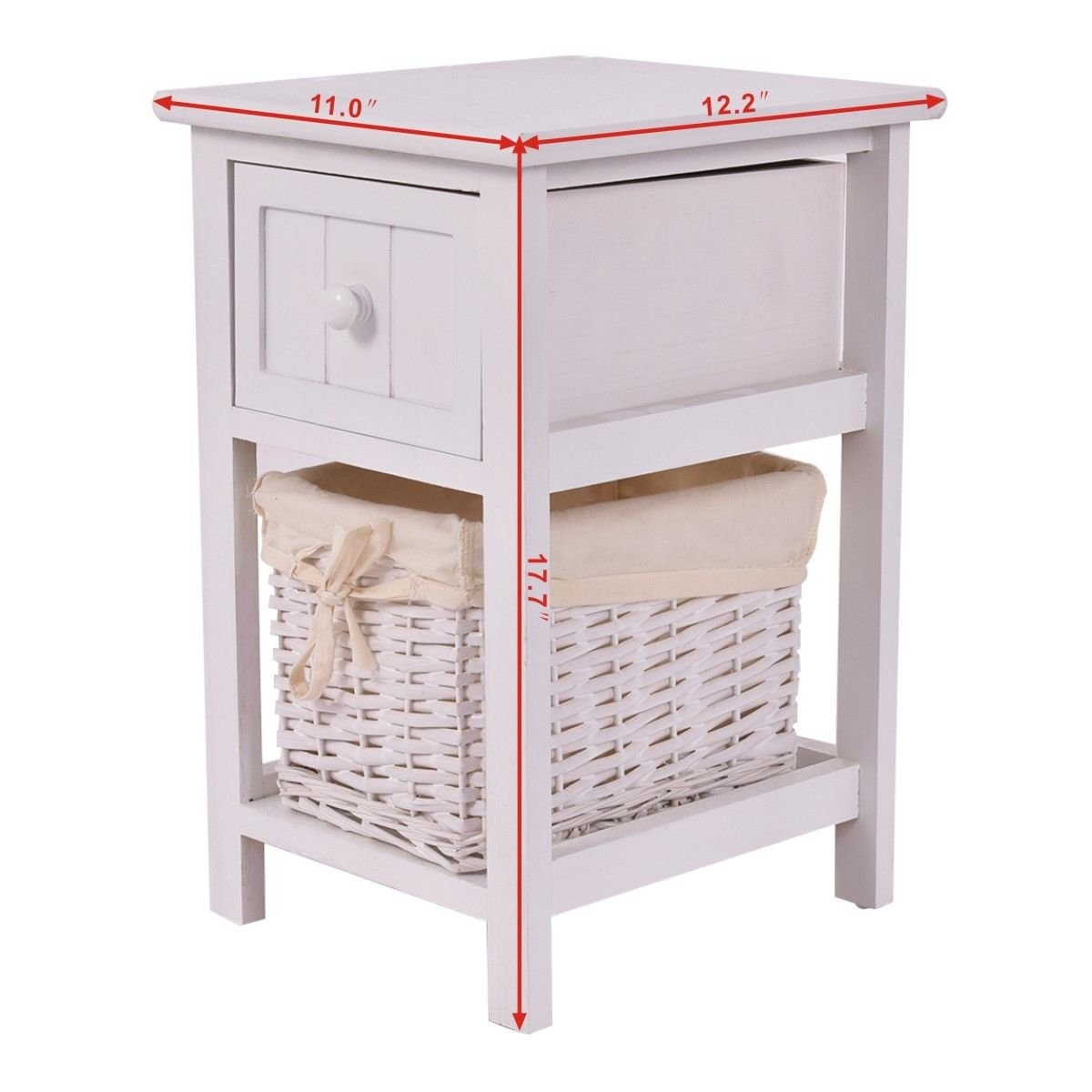 Night Stand 2 Layer W//Drawer Bedside End Table Organizer Bedroom Nightstand USA