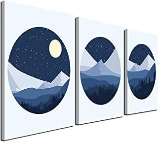 Gardenia Art-Winter Forest and Mountains Under The Moon and Stars Canvas Print Modern Geometry abstarct Wall Art Decor for Living Room Office 12x12 inch/Piece,3 Panels,Framed