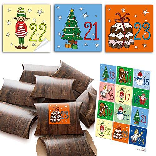 24scatole piccole scatole in cartone in simil legno marrone (14,5x 10,5cm ca. 3cm altezza) + 24Sticker 6x 6cm con calendario dell' Avvento di numeri da 1a 24colorato per bambini (14135) da realizzare e riempimento