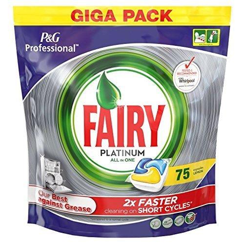 Fairy Platino todo en uno pastillas para lavavajillas (75 limón)
