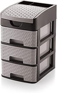 Storevise Kitchen Plastic Drawer Multipurpose Drawer Rack Organizer Storage Box for Home Kitchen (3 Layer, Grey)
