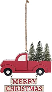 Sullivans Merry Christmas Red Pickup Truck 4.5 x 3.5 Inch Wood Christmas Ornament