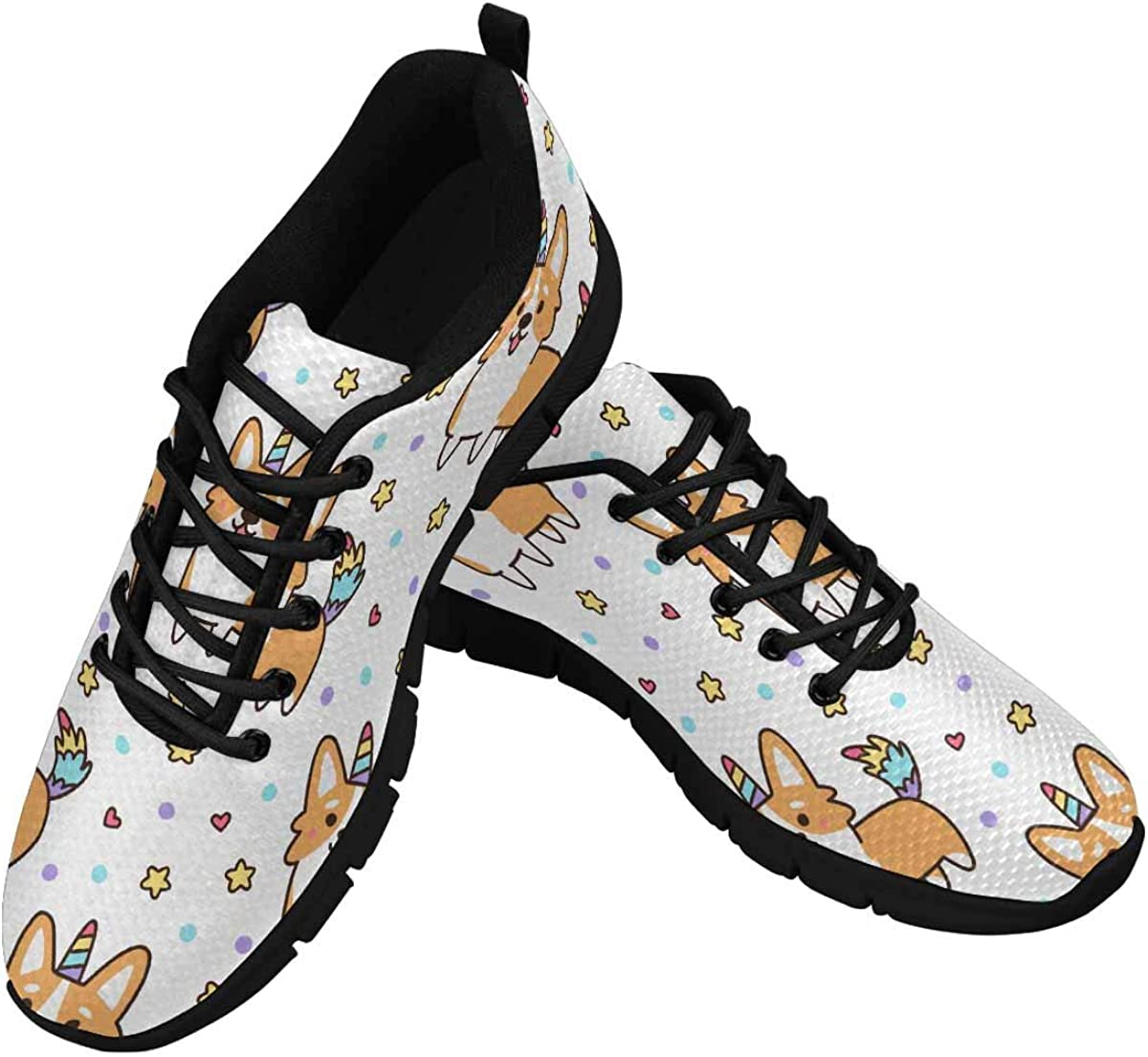 InterestPrint Welsh Corgi in a Unicorn Costume Women's Athletic Mesh Breathable Casual Sneakers Fashion Tennis Shoes