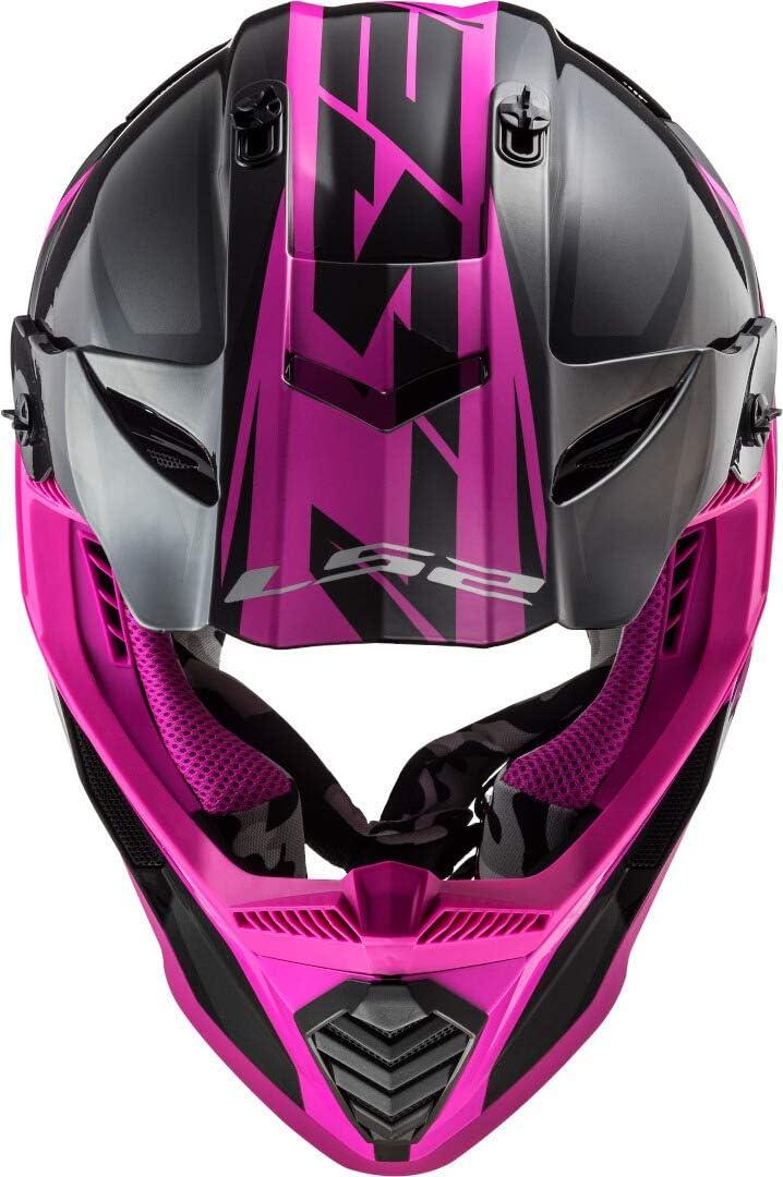 Nero Opaco//Giallo Fluo Unisex XS LS2 404373254XS Casco Motocross MX437 Fast Evo Roar
