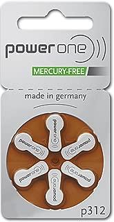 PowerOne Hearing Aid Batteries No Mercury Size 312, PR41 (60 Batteries) + Battery Keychain Kit