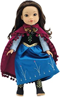 "Emily Rose 14 Inch Doll Clothes | Princess Anna Frozen Inspired Dress with Embroidered Boots | Fits 14"" American Girl Wellie Wishers and Glitter Girls Dolls"
