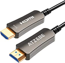 ATZEBE Fiber Optic HDMI Cable 50ft, 4K Optical HDMI Cable Supports 4K@60Hz, 4:4:4/4:2:2/4:2:0, HDR, Dolby Vision, HDCP2.2, ARC, 3D, High Speed 18Gbps, Slim and Flexible Active HDMI Cable