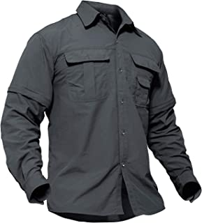 Men's Breathable Quick Dry UV Protection Solid Convertible Long Sleeve Shirt