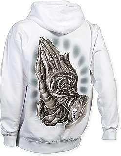OGABEL Men's Money Rose Hands Hoodie White