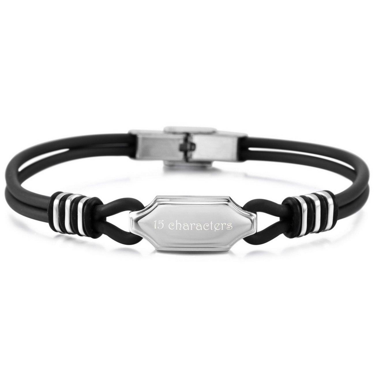 MeMeDIY Black Silver Tone Stainless Steel Genuine Leather Bracelet Bangle Customized Engraving