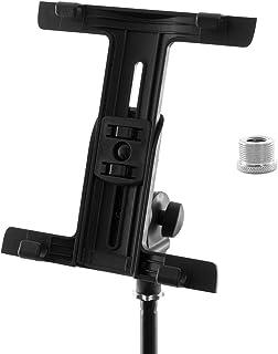 Tiger - Soporte de iPad para micrófono y música con abrazadera ajustable, negro