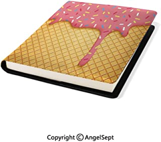 Stretchable Book Cover Design,Waffle Pattern with Cherry Flavor on Yummy Summer Dessert Cute Mustard Coral,9