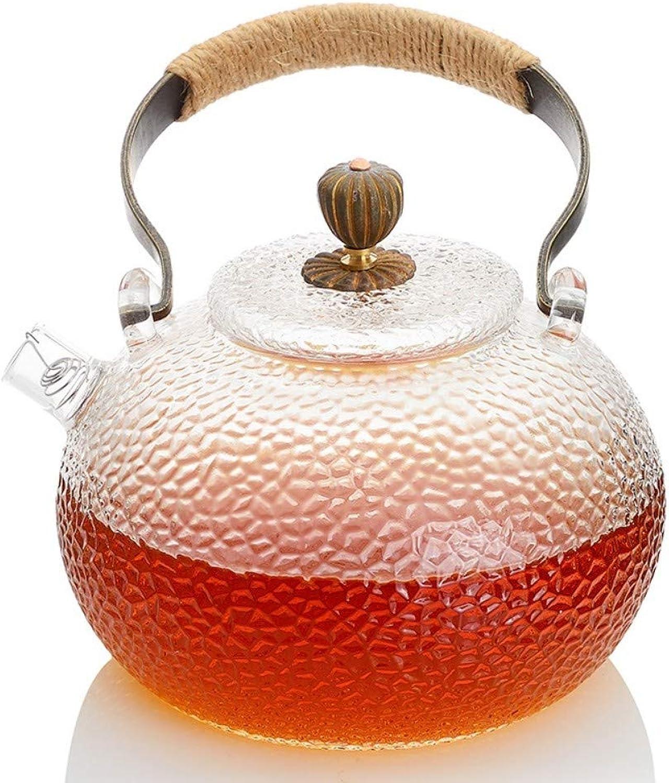 SGXDM Liangliang Pot en Verre martelé résistant à la Chaleur Pot électrique cuisinière en céramique Bouillie théière Pot de cuivre Pot Kettle Kung Fu thé Ensemble, Un