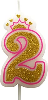 PartyMart Number 2 Giltter Candle, Pink Number 2