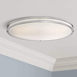 "Leeds Modern Ceiling Light Flush Mount Fixture LED Satin Nickel 32 1/2"" Wide Opal White Acrylic Diffuser for Bedroom Kitch..."