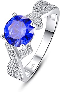 PAKULA 925 Sterling Silver Women Simulated Tanzanite Promise Ring for Her