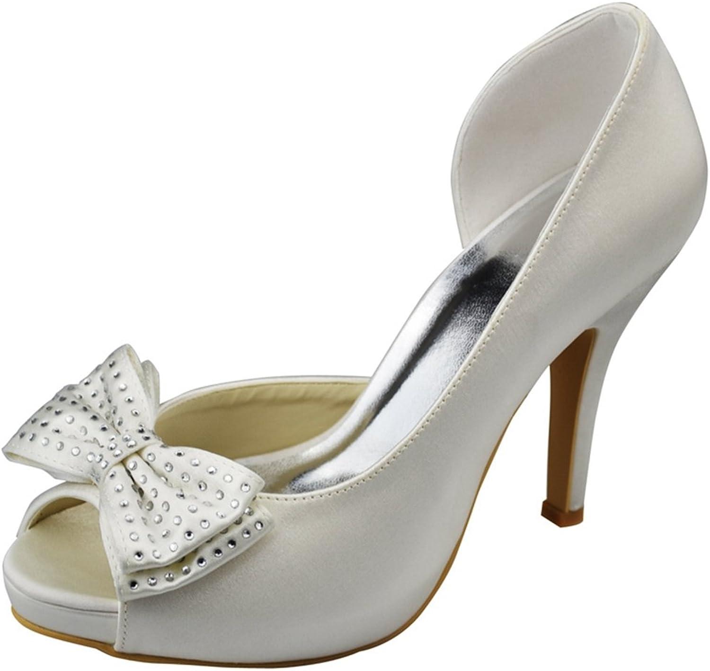 Minishion Womens Stiletto High Heel Satin Evening Party Bridal Wedding Sparkle shoes Sandals