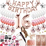 Sweet 16 Birthday Decorations With Photo Booth Backdrop and Props Rose Gold Sweet 16 Decorations Sweet 16th Birthday Party Supplies Happy Birthday Banner Confetti and Mylar Balloons Sweet Sixteen 16