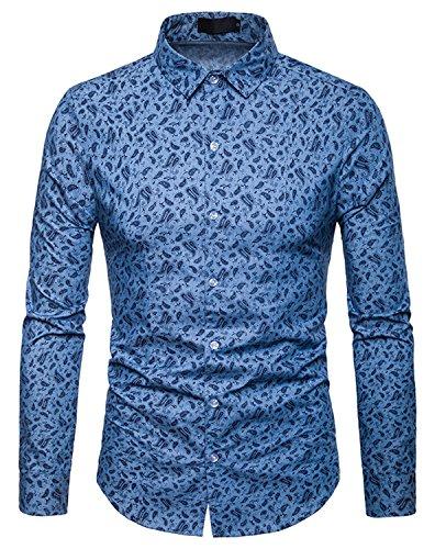 WHATLEES Herren Paisley Langarm Hemden - mit Stehkragen und durchgehendem Print BA0069-lightblue-S