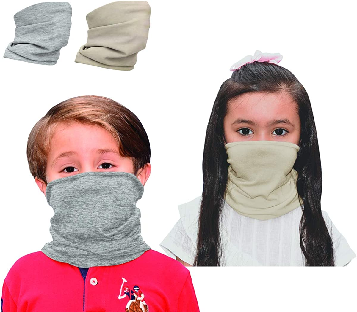 2 pcs Kids Neck Gaiter Face Mask Bandana Scarf Adjustable Reusable Solid Colors Multifunctional Comfortable Sports