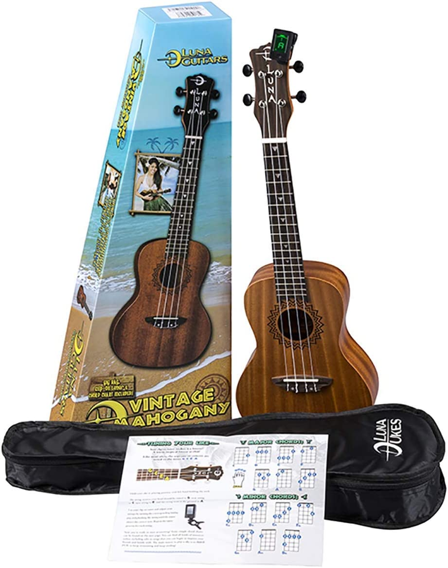 San Diego Mall Luna Vintage Mahogany Concert SEAL limited product Ukulele Pack Bag with and Tuner