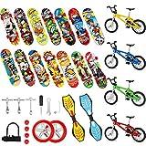 Gejoy Set de 29 Mini Juguetes de Dedo Patinetas de Dedo Bicicletas Dedo Tablero Oscilante Diminuto Favores de Partido de Movimiento de Punta de Dedo Herramientas y Ruedas de Repuesto para Niños