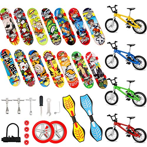 Gejoy 29 Pieces Mini Finger Toys Set Finger Skateboards Finger Bikes Tiny Swing Board Fingertip Movement Party Favors Replacement Wheels and Tools