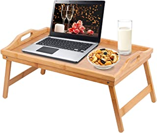 Jibanie Bamboo Bed Tray Folding Breakfast Tray-Laptop Desk, Bed Table, Serving Tray with Legs Great for Dinner by The TV | Sofa | Lap Drawing Table|Eating Tray