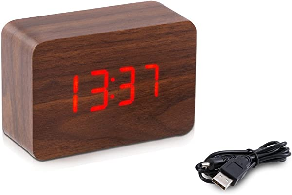 Kwmobile Wooden Digital Alarm Clock Activated By Touch Or Sound LED Bedside Smart Clock With Thermometer Date And 3 Alarms Brown With Red LEDs