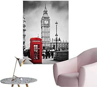 Wall Art Prints Red Telephone Booth and Big Ben in London,England,The UK People Walking in Rush for Living Room Ready to Stick on Wall,20