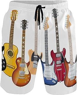 Ahomy Pantalones Cortos de Secado rápido para Hombre con Guitarras eléctricas y Forro de Malla para