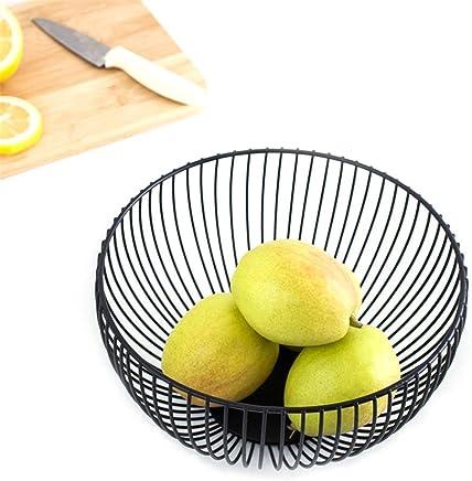 Preisvergleich für Ksruee Rund Obstkorb, Metal Obstkorb Früchtekorb Obstschale, Obst Halter Gemüsekorb Süßigkeit Keksschale Tray Küche Food Storage Dish S: 7,09 * 2,36,L:11,02 * 2,95 '' (Schwarz)