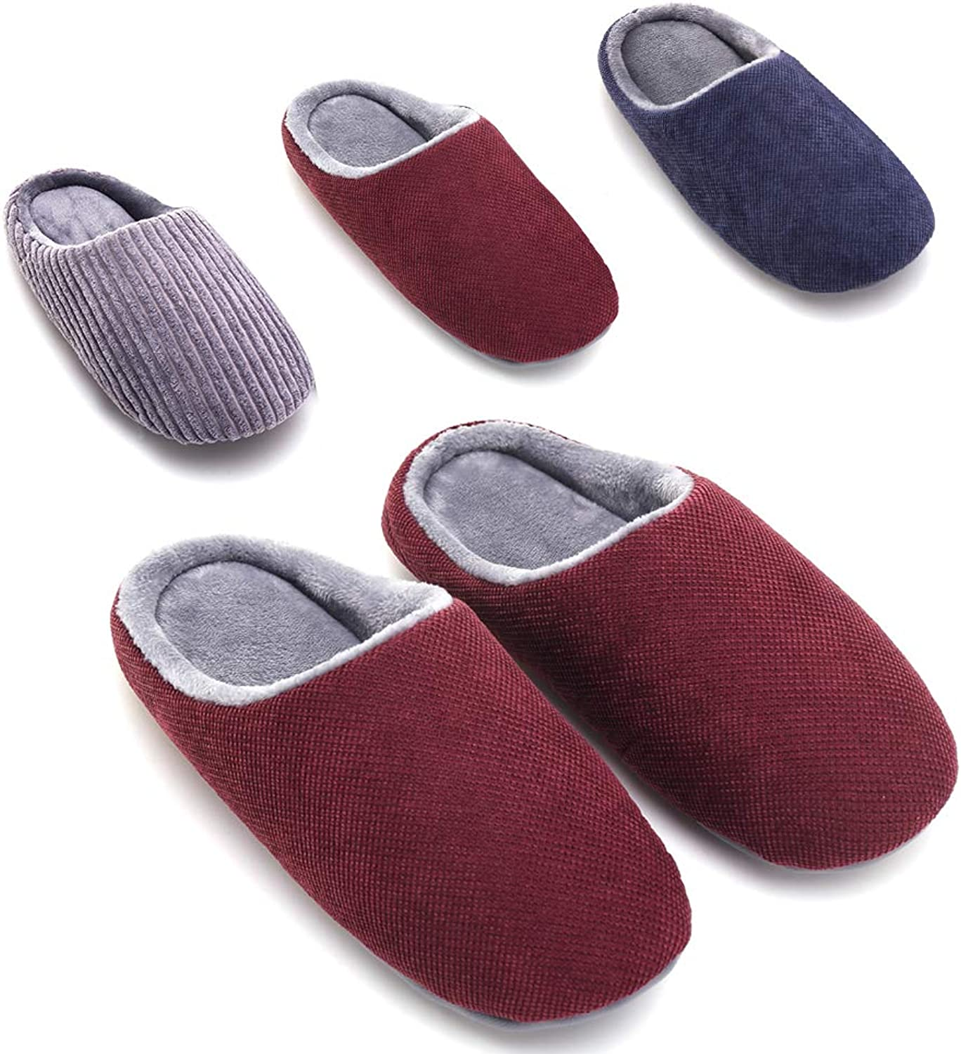 OWUNI Women's House Slippers Comfort Cozy Memory Foam Indoor Outdoor Anti-Slip Winter Warm Slippers