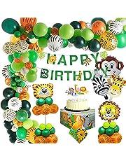 MMTX Jungle Décorations Anniversaire Garcon Enfant-Bannière joyeux anniversaire avec latex Ballons et Safari Forest Animaux ballon pour garçon Anniversaire bébé douche décor